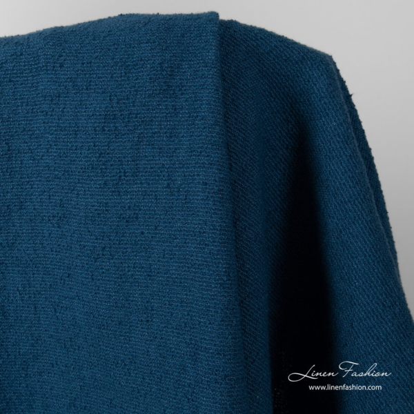 Blue linen cotton blend fabric, washed