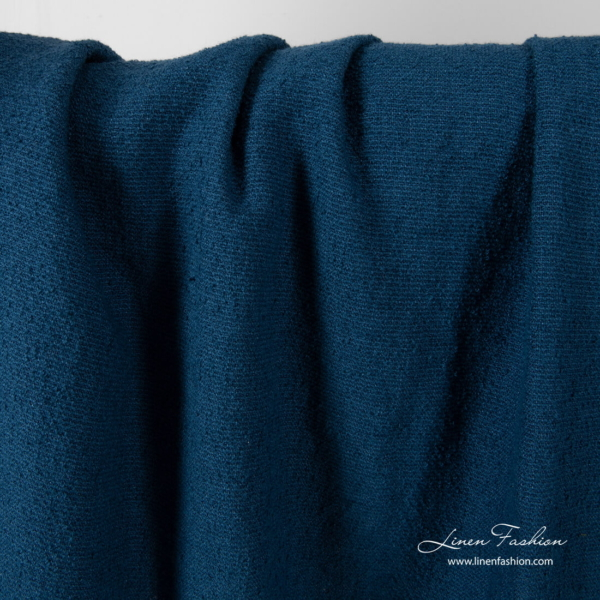 Washed linen cotton fabric, dark blue color