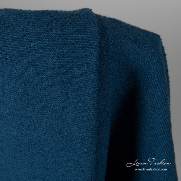 Washed blue linen fabric with special cotton yarns