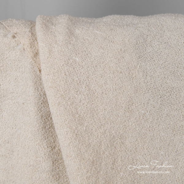 Washed off white linen blend fabric with fancy yarns