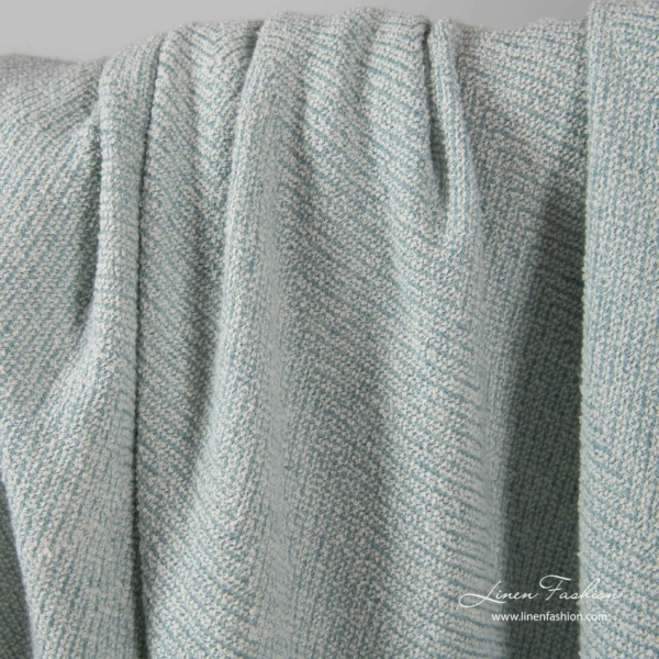 Washed linen cotton fabric in greenish blue colour