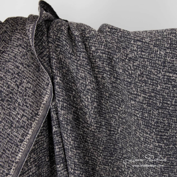 Washed linen cotton jacquard fabric in black and natural mix