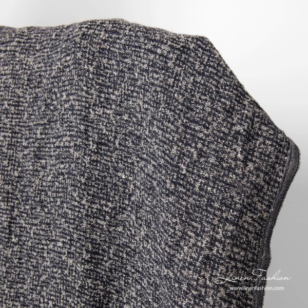 Linen cotton washed fabric, black and natural yarn mix