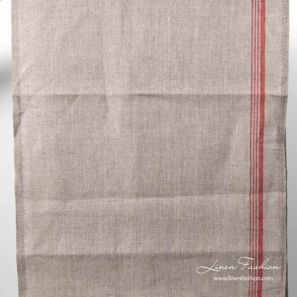 Narrow undyed color towel fabric with red stripe