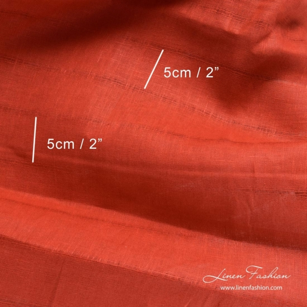 Lightweight red linen fabric with horizontal azure stripes