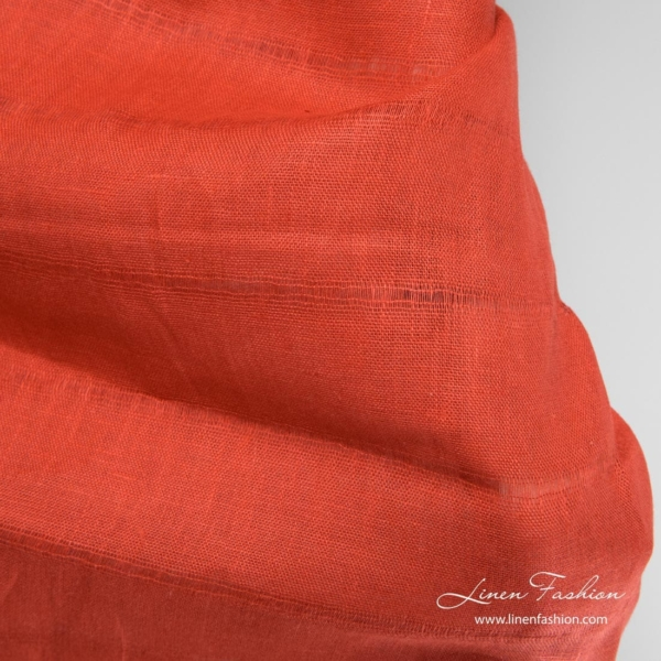 Red transparent linen fabric with azure stripes