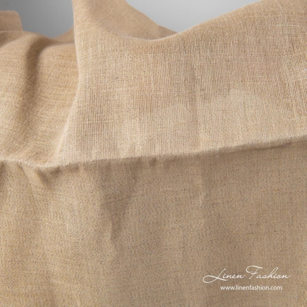 Grey linen fabric with gold lurex