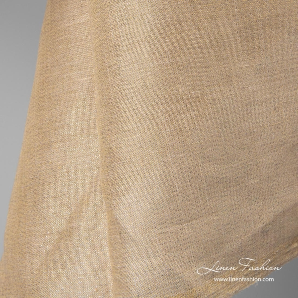 Shiny linen fabric, natural with gold lurex