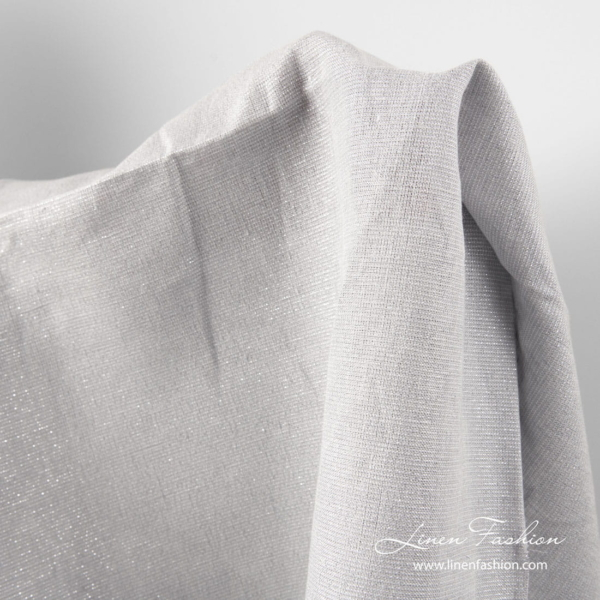 Light grey shiny linen fabric
