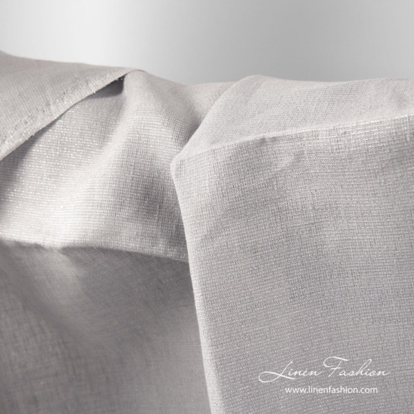 Grey linen fabric with shiny silver threads