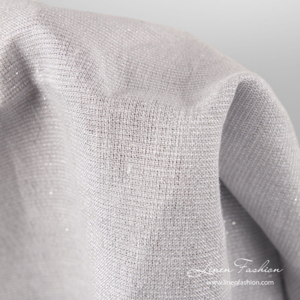 Light grey linen fabric with silver lurex