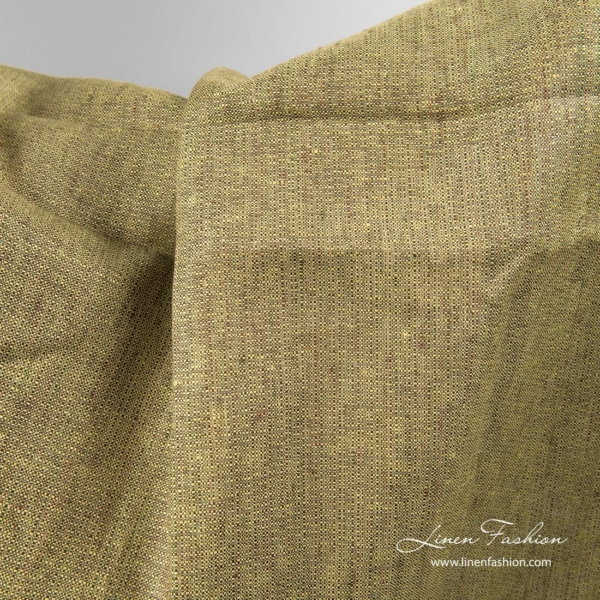 Green brown linen fabric