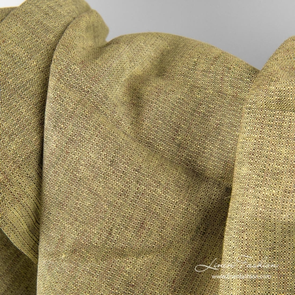 Green brown melange linen fabric