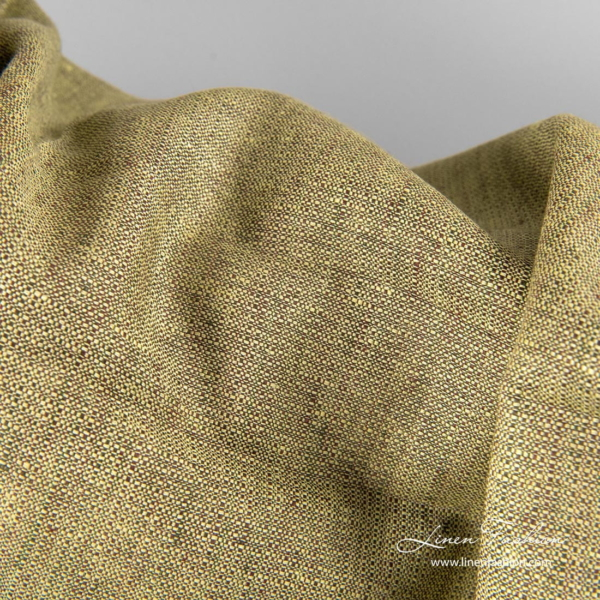 Linen fabric in green and brown color mix