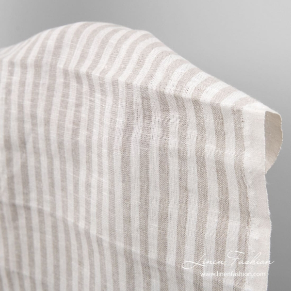 Linen fabric for tea towels in white and flax color stripes