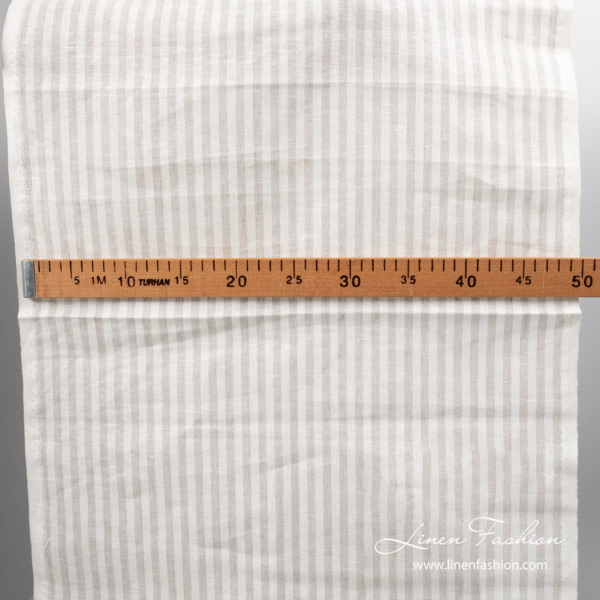 White/natural color stripes, narrow linen fabric