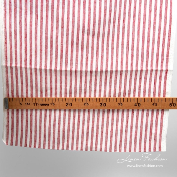 White red striped linen fabric, narrow width