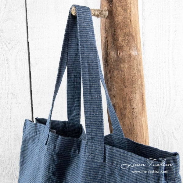 Striped linen bag with long handles