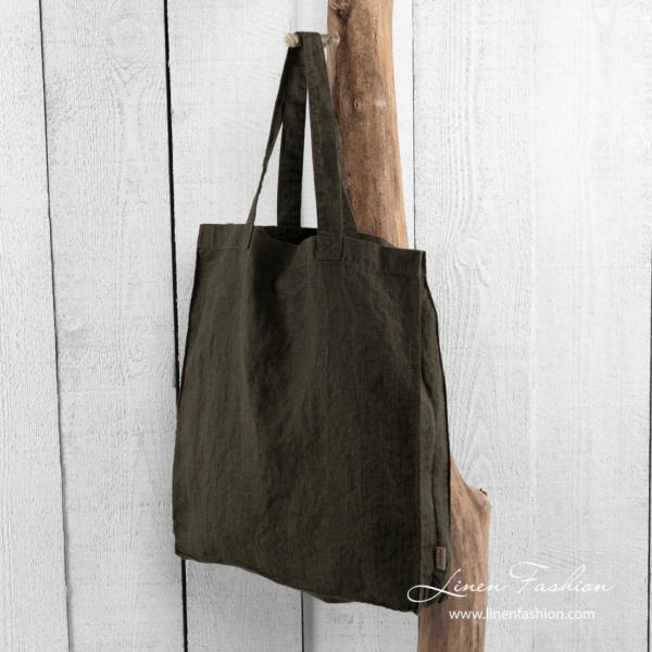 Moss green linen shopper bag