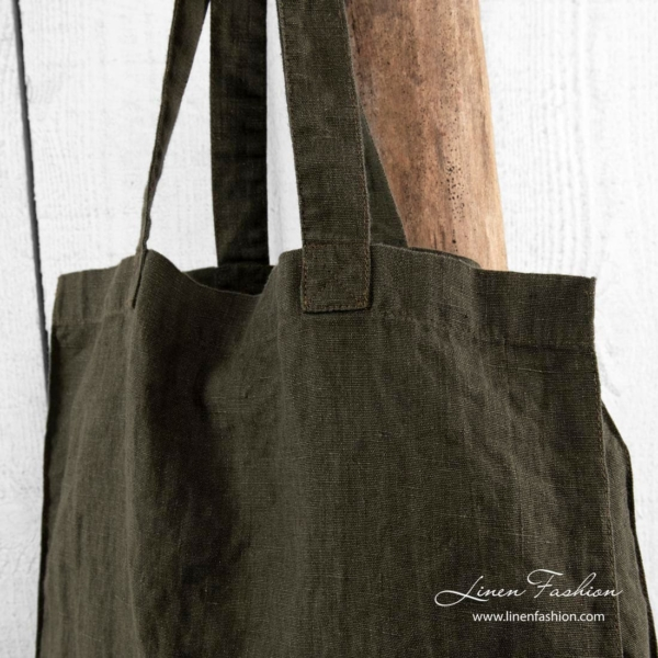 Moss linen bag with long handles