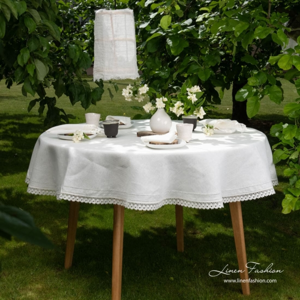 White linen round tablecloth, nora.