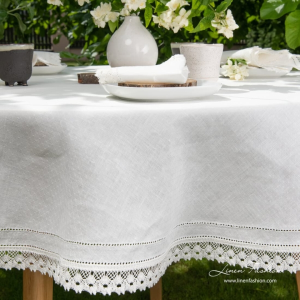 Linen round tablecloth in white color, nora.