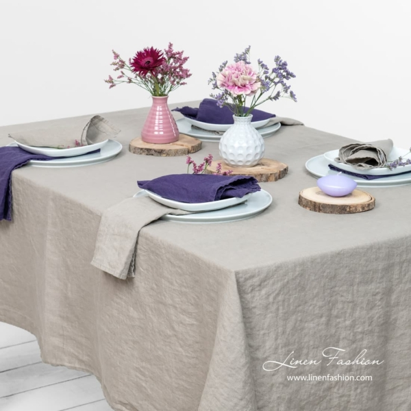 Linen tablecloth in brownish grey color, gamma.