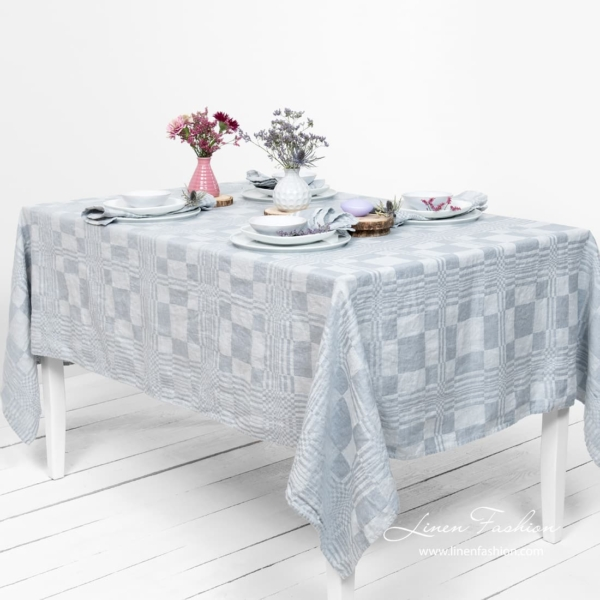 Bluish grey linen tablecloth, costa.