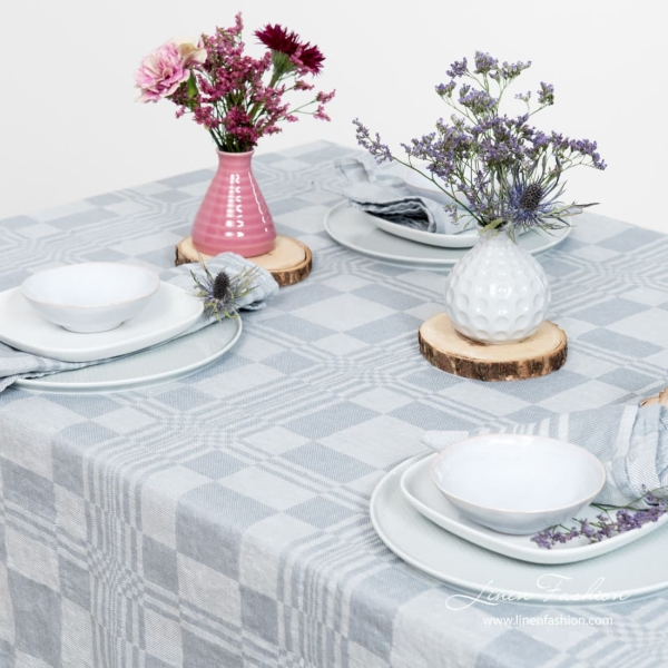 100% linen tablecloth in bluish grey color.
