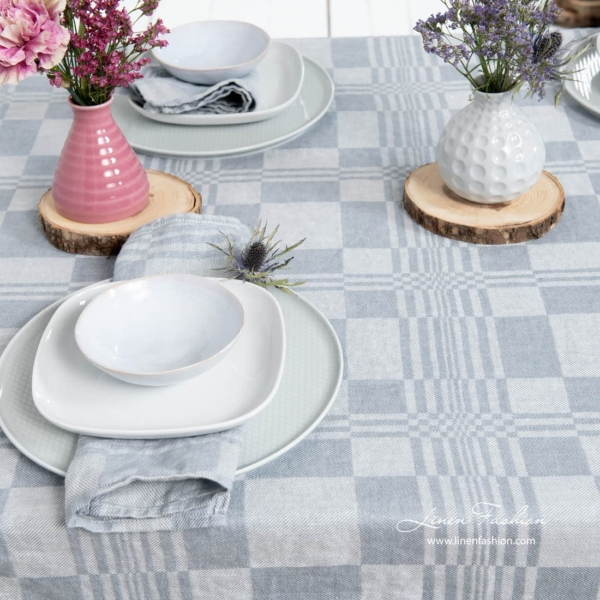 Bluish grey colored linen tablecloth, costa.