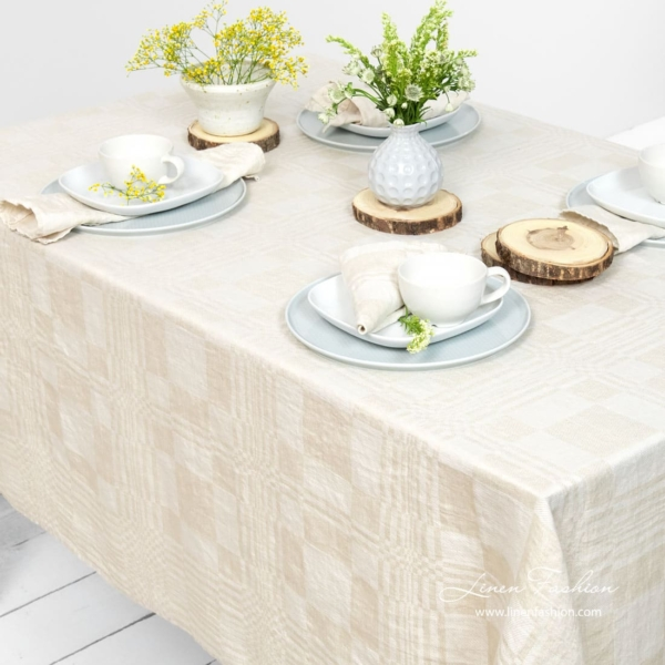 Linen tablecloth in beige color, costa.