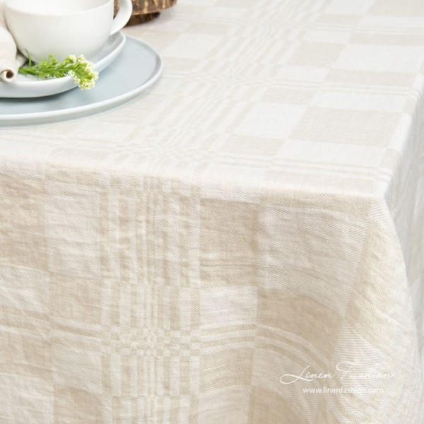 100% linen tablecloth in beige color.