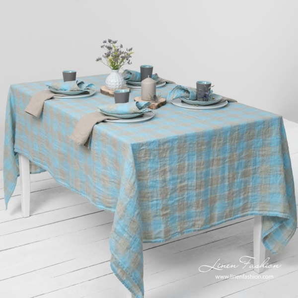 Grey/light blue linen tablecloth, lasa.
