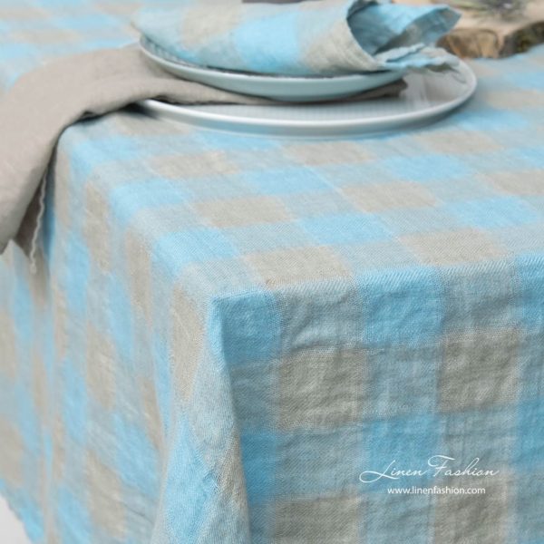 Linen tablecloth in grey and light blue.