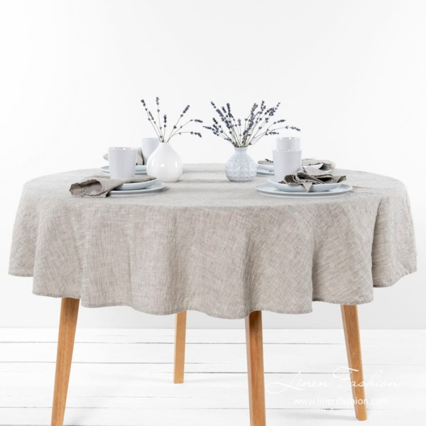 Light grey round tablecloth, ASTRA.