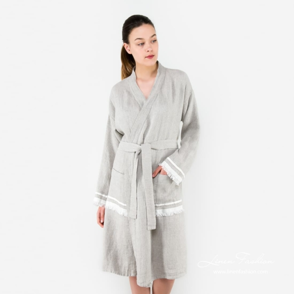 Grey linen womens robe, malta.