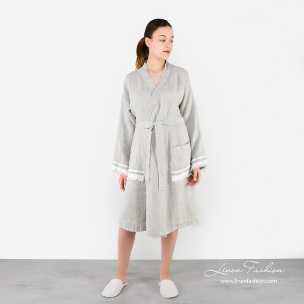 Linen grey robe for women, malta.