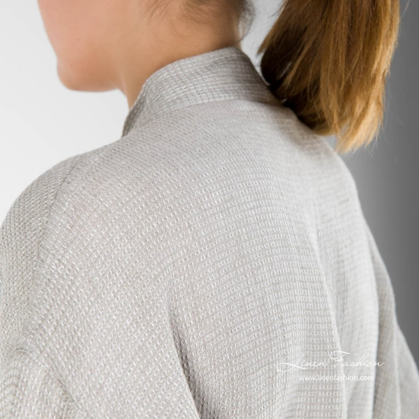 Grey womens robe of 100% linen, malta.