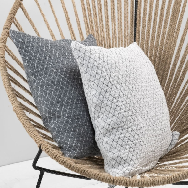 Linen cushion cover in white color, sienna.