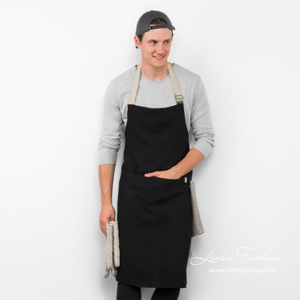Black linen apron, JAZZ.