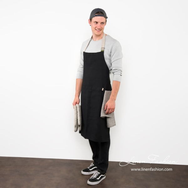 100% linen black apron, jazz.