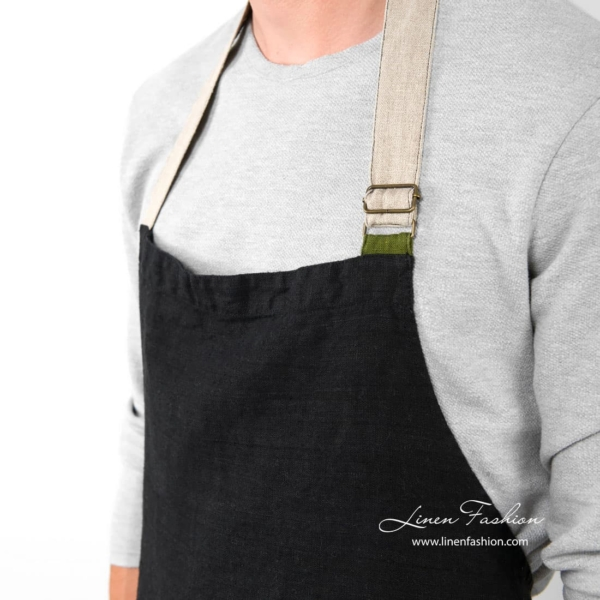 Black colored linen apron, jazz.