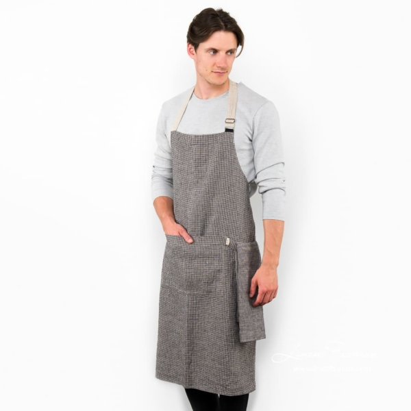 Black/grey linen apron, jazz.