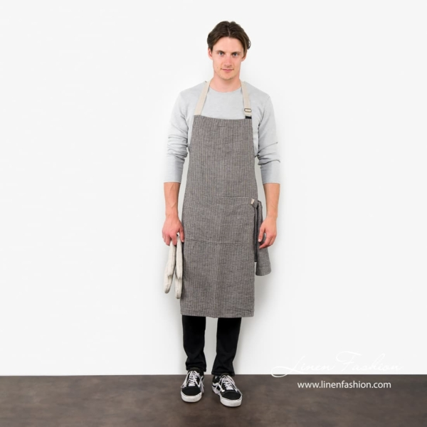 100% linen apron in black/grey, jazz.