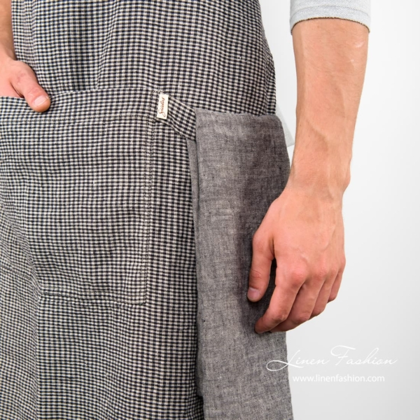 Black/grey colored apron, jazz.