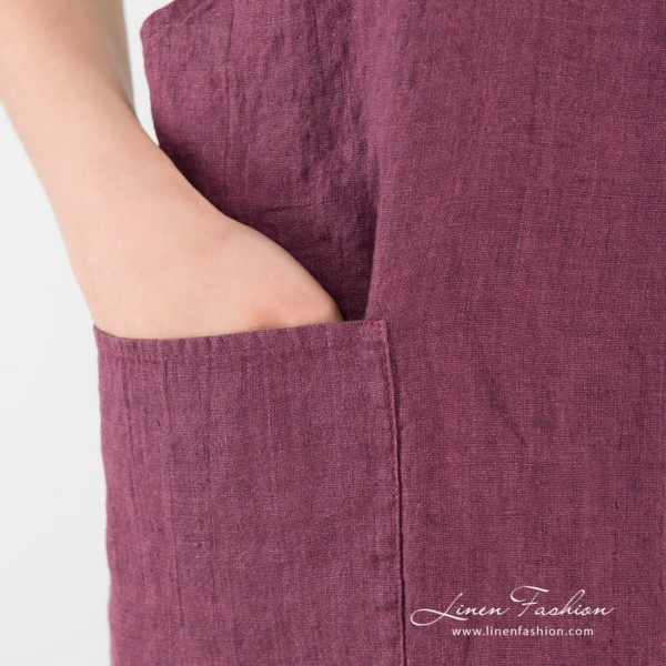 Chery color linen apron with pockets