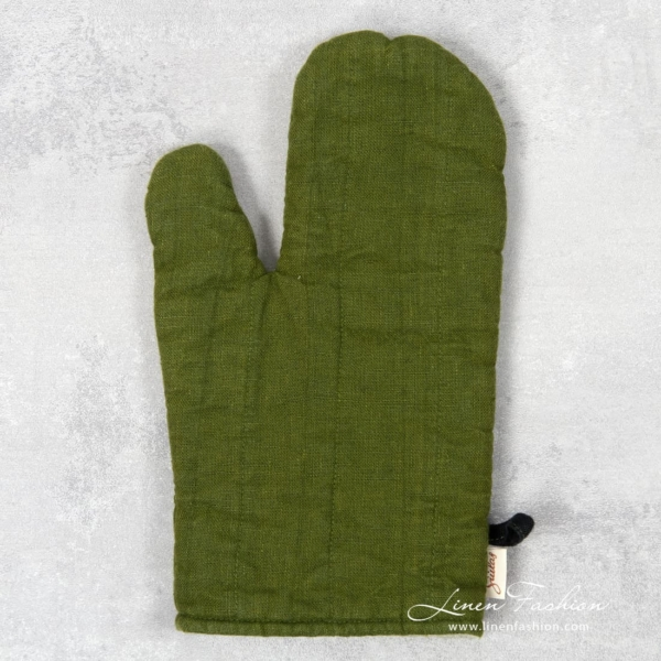 Green linen oven glove, JAZZ.
