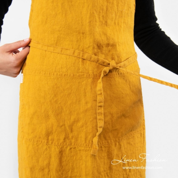 100% linen apron in yellow color, gamma.