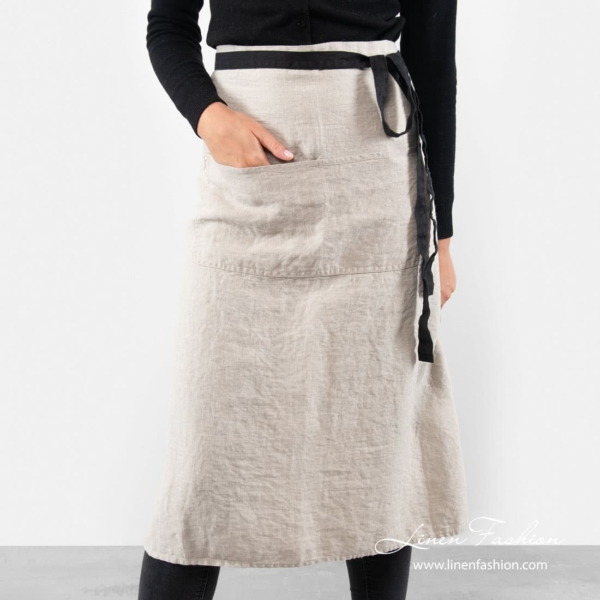 100% linen long apron in grey color.