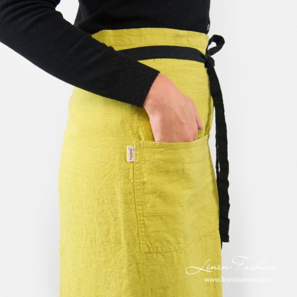 100% linen apron in warm olive, bistro.